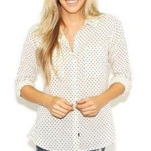 Rails Keira Polka Dot Button up Shirt Cream Black
